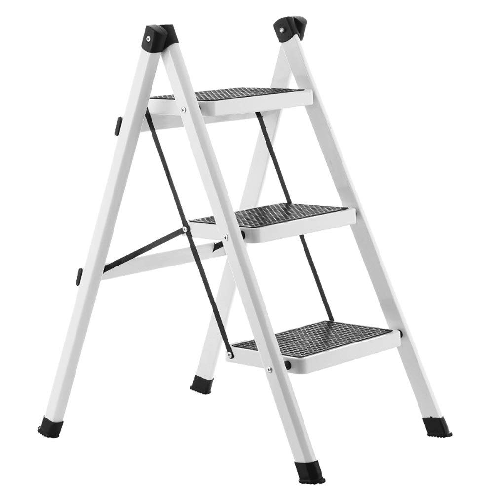 White GAIXIA-Ladder stool Household Folding Ladder Three Ladder Iron Insulation Ladder Multi-Function Ladder Portable Single-Sided Ladder Folding Stairs (color   Dark bluee)