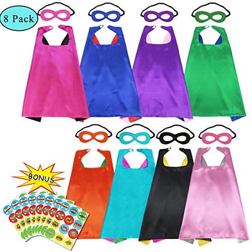 Children's Superhero Dress Up Capes and Masks for Kids Super Hero Party Supplies with DIY Stickers (8 Pack) -