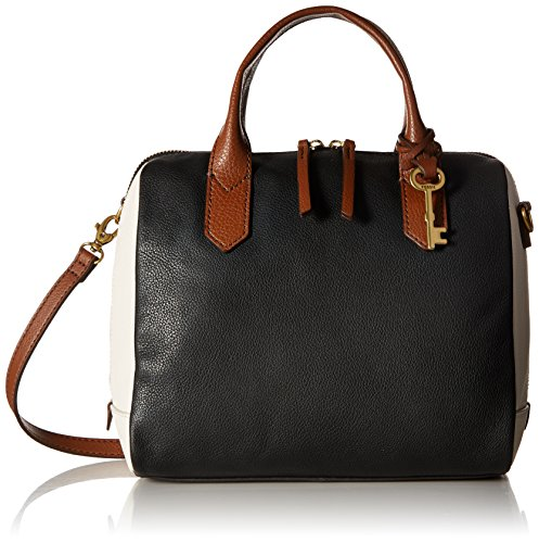 Fossil Fiona Satchel Handbag, Black/White