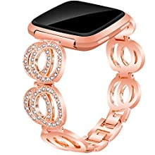 Compatible for Fitbit Versa/Versa 2 / Versa Lite/Versa Special Edition, VOMA Stainless Steel Metal Bands Bracelet Strap for All Fitbit Versa Edition Classic Rose Gold