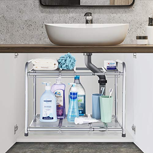 Bextsware Under Sink Shelf Organizer  2-Tier Storage Rack with Flexible & Expandable 15 to 27 inches for Kitchen Bathroom Cabinet