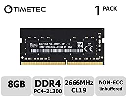 Timetec Hynix 8GB DDR4 2666MHz PC4-21300 Unbuffered Non-ECC 1.2V CL19 1Rx8 Single Rank 260 Pin SODIMM Laptop Notebook Computer Memory RAM Module Upgrade (8GB)