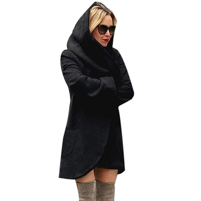 Jonerytime Women Casual Woolen Hooded Thin Coat Loose Overcoat (S, Black)