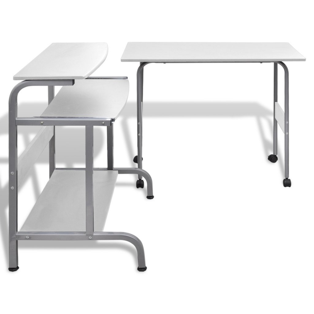 Festnight Computer Desk Adjustable Workstation White