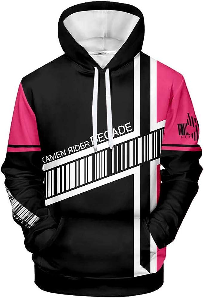 Men's Kamen Rider Hoodie 3D Printed Long Sleeves Pullover Sweatshirt Fancy Streetwear Cosplay Costume