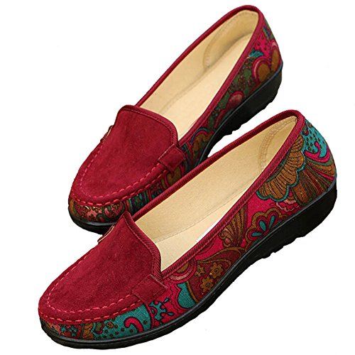 Beijing Flats ANDAY on Womens Slip Red Shoes Old Vintage Nation Loafers qAtA6