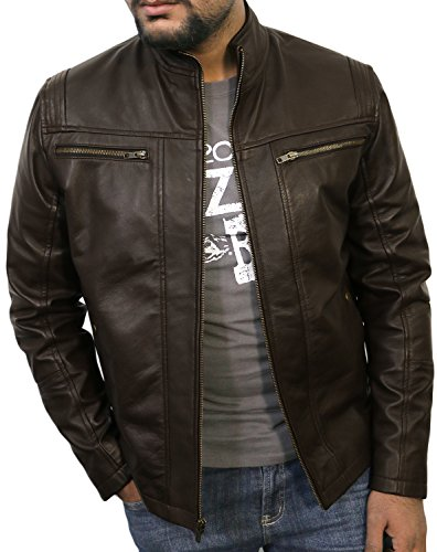 Laverapelle Men's Brown Genuine Lambskin Leather Jacket - 1510489 - Extra Large (Brown Cowhide Nappa Leather)