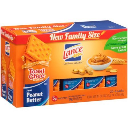Lance Toast Chee Real Peanut Butter Sandwich Crackers, 20 count, 30.3 oz by Lance