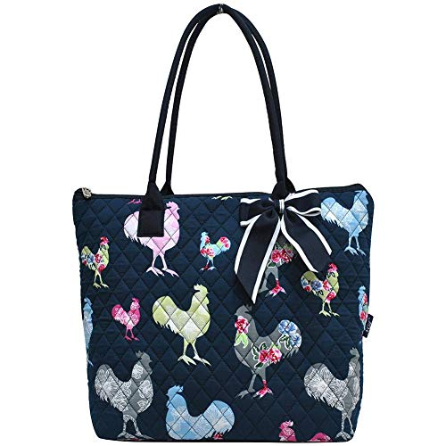 (Ngil Quilted Cotton Medium Tote Bag 2018 Spring Collection (Rooster Navy))