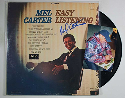 "Mel Carter Signed Autographed ""Easy Listening"" Record Album w/ Signing Photo"