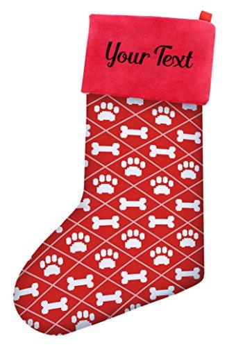 (Custom Christmas Stockings Dogs Christmas Dog Bone Pawprint Pattern Christmas Stockings Dog Lovers Personalized Stockings Custom Christmas Stocking)