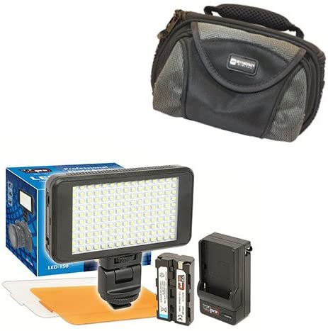 Olympus C-3000Z Digital Camera Lighting Vidpro Ultra-Slim LED-150 Video and Photo LED Light Kit-with SDC-26 Case