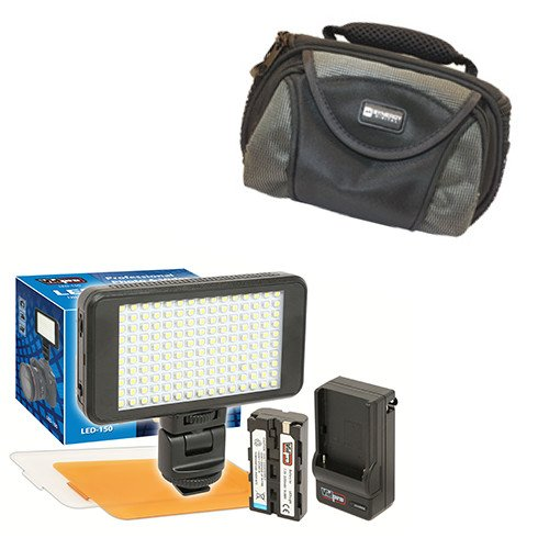 Fujifilm FinePix F10 Digital Camera Lighting Vidpro Ultra-Slim LED-150 Video and Photo LED Light Kit-with SDC-26 Case