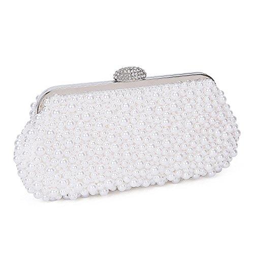 Kisschic Bolsos clutch de noche hechos a mano perla de las mujeres bolsos de fiesta£¨Blanco£© Blanco
