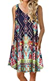 Genhoo Women Summer Casual Sleeveless Floral Printed Swing T Shirts Dress Sundress with Pockets (2XL, V Neck PAT3)