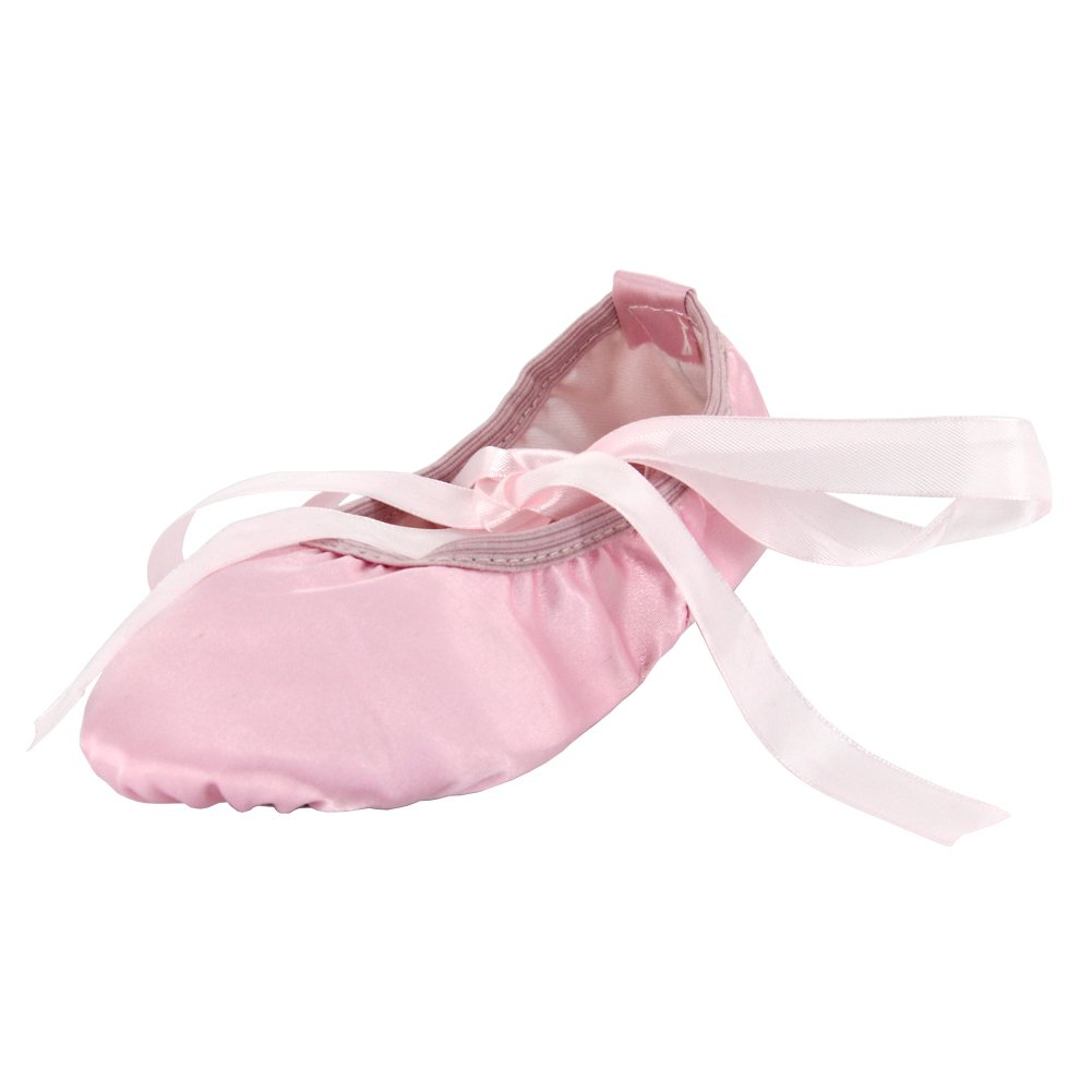 MSMAX Women's Silk Dance Ballet Slipper,Pink,9M US