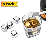Metal Ice Cubes, Synerky Reusable Ice Cubes 8 PCS Stainless Steel Whiskey Stones for Non-diluting Cooling Vodka, Whiskey, Beer, Wine, Beverage (FDA Approved, Storage Tray Silicone Tip Tong included)