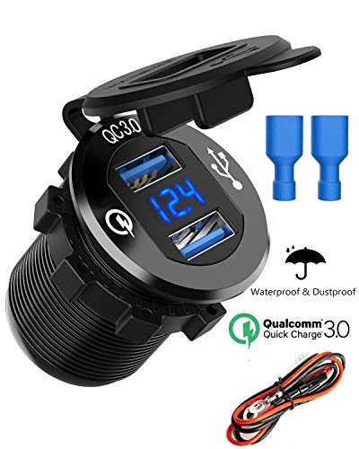 Quick Charge 3.0 Dual USB Charger Socket, SunnyTrip Waterproof Aluminum Power Outlet Fast Charge with LED Voltmeter & Wire Fuse DIY Kit for 12V/24V Car Boat Marine Motorcycle Truck Golf Cart and More ()