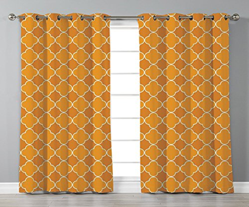 Thermal Insulated Blackout Grommet Window Curtains,Quatrefoil,Clover Shape Girih Pattern Eastern Trellis Tradition Floral Oriental Arabic,Brown Yellow,2 Panel Set Window Drapes,for Living Room Bedroom