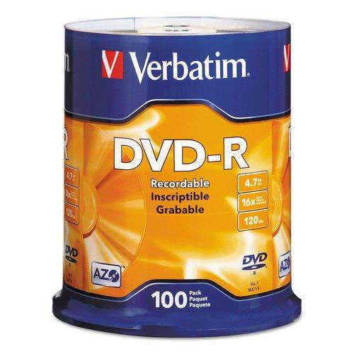 Verbatim(R) DVD-R Recordable Media Spindle, 4.7GB/120 Minutes, Pack Of 100