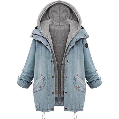 WILLTOO Clearance! Women Winter Coat Denim Hooded Coat Parka Outwear 2Pcs (3XL, Blue) by WILLTOO