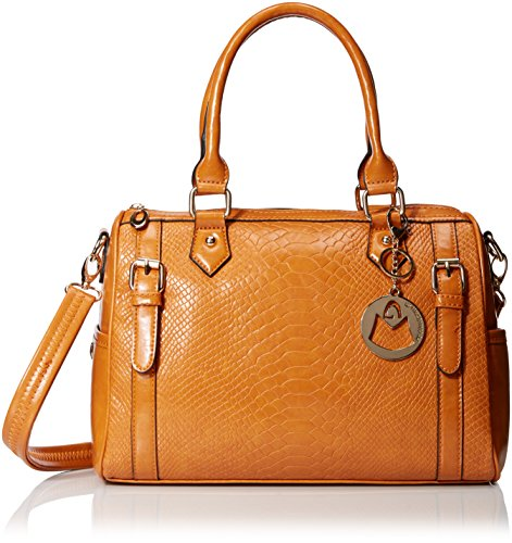 Crocodile Skin Bags (MG Collection Faux Snakeskin Bowling Convertible Top Handle Bag, Caramel, One)