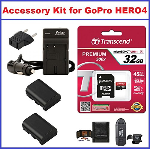 Accessory Kit for GoPro HERO4 Camcorder, Includes: Transcend 32GB microSDHC Memory Card Premium 300x Class 10 UHS-I with microSD Adapter, AC/DC Travel Charger with Batteries, Card Reader and Memory Card Wallet by True Modern Electronics