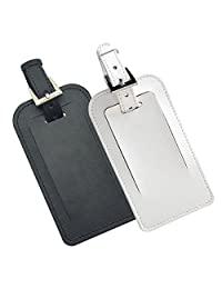 Leather Business ID Tags for Luggage Baggage Travel Flight Suitcase Sports Bag (Black+White)