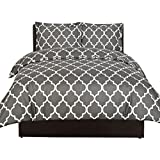Printed Duvet-Cover-Set - Brushed Velvety Microfiber - Luxurious, Comfortable, Breathable, Soft & Extremely Durable - Wrinkle, Fade & Stain Resistant - Hotel Quality By Utopia Bedding (Grey, Queen)