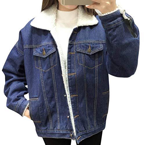 Style Fibbia Pelliccia Jacket Hot Jeans Multi Sciolto Donna Maniche Blu In Giacca Elegante Collo Lunghe Blau Con Ragazze Outerwear Cappotto tasca Giacche Moda Invernali Festa Metallo faxdqzwq