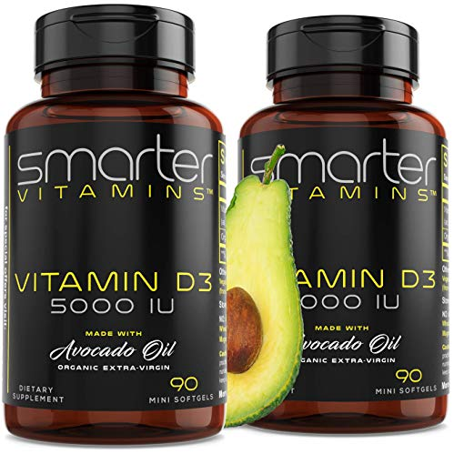 (2 Pack) Vitamin D3 5000 IU in Organic Avocado Oil, 90 Mini Softgels, Non-GMO, Soy Free, Gluten Free, Supports Healthy Bones and Immune Function