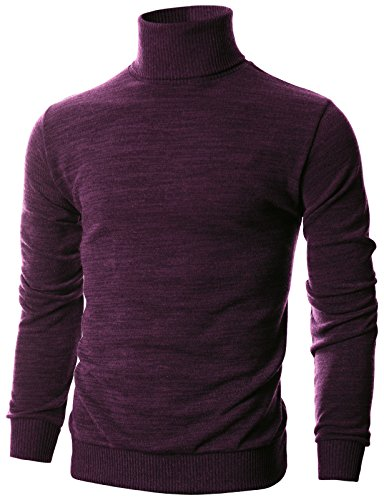 Ohoo Mens Slim Fit Long Sleeve Turtleneck Mixed Ribbed Hem Pullover Sweater/DCP024-PURPLE-XL
