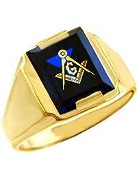 Men's 10k Yellow Gold Freemason Blue Stone Square and Compass Masonic Ring