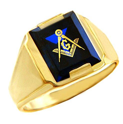 Men's 10k Yellow Gold Freemason Blue Stone Square and Compass Masonic Ring (Size 15) 10k Yellow Gold Masonic Ring