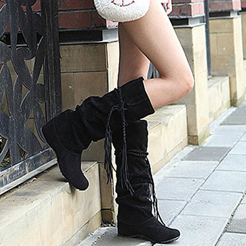 Elevin(TM)2017Women Winter Warm Heighten Platforms Thigh High Tessals Boots Motorcycle Shoes Black I7CUY