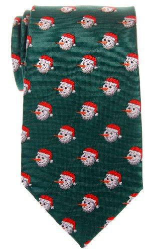 Retreez Christmas Happy Snowman Woven Microfiber Men's Tie - Green, Christmas Gift