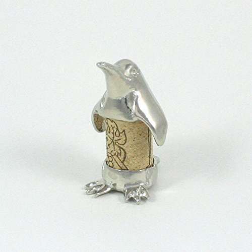 Penguin Sculpture Displays Your Wine Cork - Solid Pewter - Gift Boxed - Handcrafted Pewter Made in USA Anniversary Wine Art