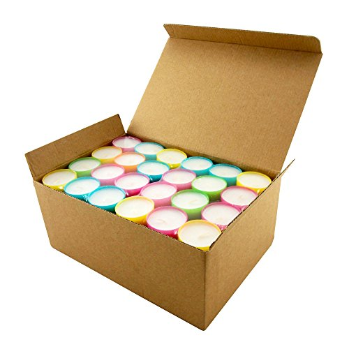 Stonebriar Multicolor Tea Light Candles, 6 to 7 Hr Extended Burn Time, 96 ()
