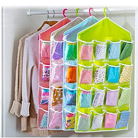 EQLEF® Hanging Closet Bra Stocking Clothes Socks Organizer 16 Pockets  Jewelry Hanging Organizer Holder
