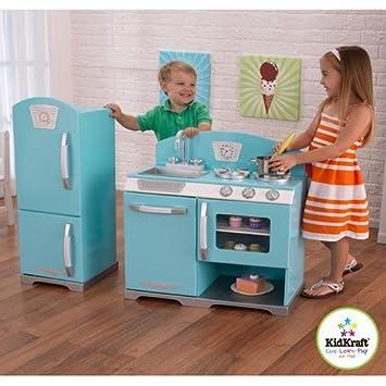Amazon.com : KidKraft Blue Retro Play Kitchen and Refrigerator ...