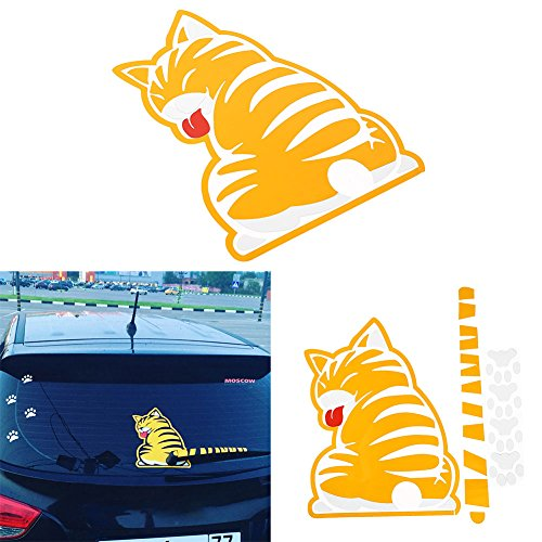 - MingXiao 2pcs cat Cartoon Stickers for Cars Vehicle Rear Window Wiper Moving Tail Cartoon Funny Cat Decals Sticker Film Vinyl Graphics Decals