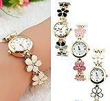 Domire Women Girl Chic Fashion Daisies Flower Rose Golden Bracelet Wrist Watches