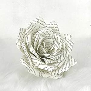 Paper Book Page Rose - Choose natural or colored tips 62