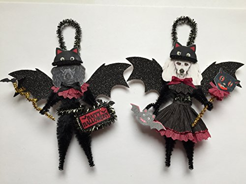 Halloween Poodle (Poodle BAT Halloween ornaments DOG ornaments vintage style chenille ORNAMENTS set of 2)