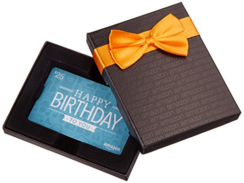 - Amazon.com $25 Gift Card in a Black Gift Box (Birthday Icons Card Design)