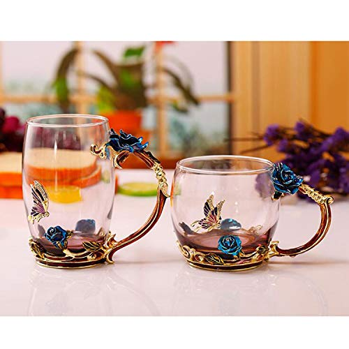 (Glass Tea Cups Coffee Mugs with Spoon Enamel Handmade Rose Flower Pattern Design Luxury Crystal Clear Glass Cup for Mother's Day Gifts (Blue Set) )