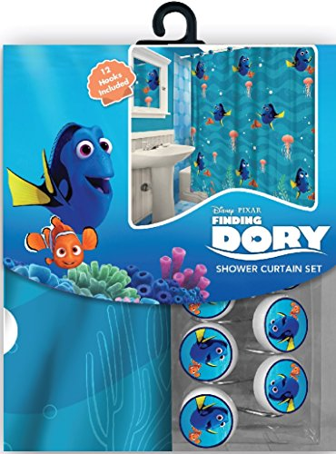 All New Fabric Shower Curtain Set Disney with 12 Matching Hooks (Finding