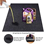 KALASONEER Oil Spill Mat,Absorbent Oil Mat Reusable Washable,Contains Liquids, Protects Driveway Surface,Garage or Shop,Parking,Floor(36inches x 48inches)