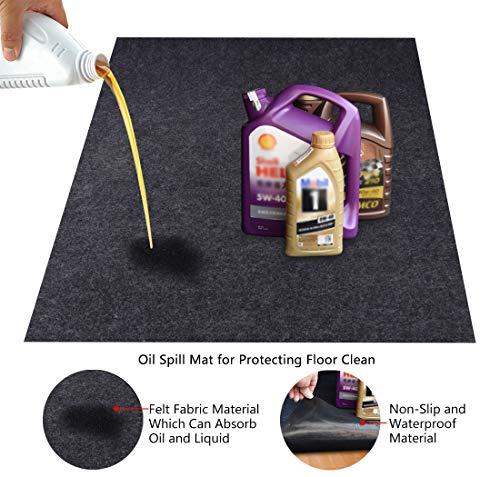 KALASONEER Oil Spill Mat,Absorbent Oil Mat Reusable Washable,Contains Liquids, Protects Driveway Surface,Garage or Shop,Parking,Floor(36inches x 60inches) (Best Garage Floor Mats)