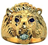 Sapphire & Diamond Lion Head Ring 14K Yellow Gold Band